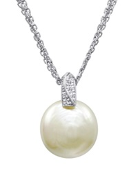 Majorica Pearl Necklace Sterling Silver And Organic Man Made Pearl Pendant With Cubic Zirconia Accents