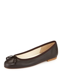 French Sole Crystal Leather Ballet Flat Ginger Brown