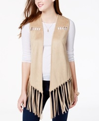 American Rag Faux Suede Fringe Vest Only At Macy's Camel