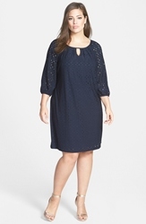 London Times Keyhole Detail Eyelet Shift Dress Plus Size Ink