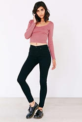 Urban Outfitters Uo Stripe Cropped Tee Mauve