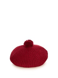Gucci Pompom Cotton Knit Beret Burgundy
