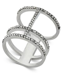Inc International Concepts Silver Tone Pave Open Bar Ring Only At Macy's