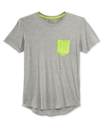 Guess Men's Neon Heat Seal Pocket T Shirt Open Multi