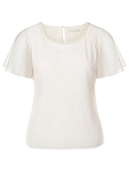 Jacques Vert Lace And Chiffon Overlaid Top Light Neutral