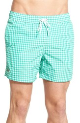 Men's Lacoste Taffeta Gingham Swim Trunks Papeete White