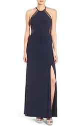 Women's Morgan And Co. Illusion Mesh Open Back Gown
