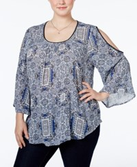 Inc International Concepts Plus Size Cold Shoulder Peasant Blouse Only At Macy's Blue Paisley