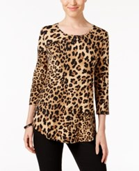 Jm Collection Three Quarter Sleeve Cheetah Print Top Only At Macy's Neutral Cheetah