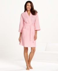 Charter Club Short Woven Waffle Robe Pink