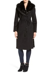 Via Spiga Women's Faux Fur Shawl Collar Wool Blend Wrap Coat Black
