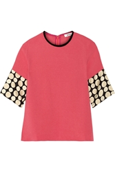 Issa Sara Silk Trimmed Crepe Top Pink