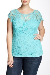 Soieblu Sweetheart Lace Blouse Plus Size Blue