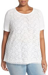 Plus Size Women's Halogen Lace Front Short Sleeve Tee Ivory Cloud