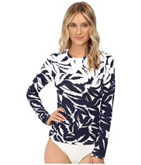 Tommy Bahama Graphic Jungle Engineered 1 2 Zip Rashguard Mare Navy White Women's Swimwear Gray