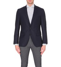 Hugo Boss Single Breasted Wool And Cashmere Blend Jacket Dark Blue