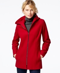London Fog Petite Hooded Zipper Front Coat Red