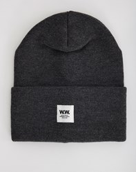 Wood Wood Tall Beanie Grey