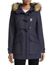 Marc By Andrew Marc New York Cara Faux Fur Trim Toggle Front Coat Denim