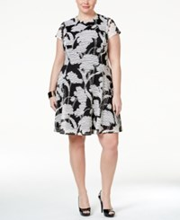 Jessica Howard Plus Size Short Sleeve Floral Print Sheath Dress Gray