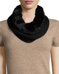 Badgley Mischka Faux Fur And Knit Infinity Scarf Black