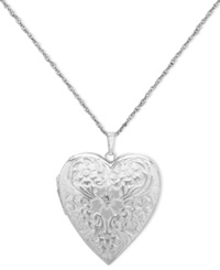 Macy's Sterling Silver Necklace Engraved Heart Locket