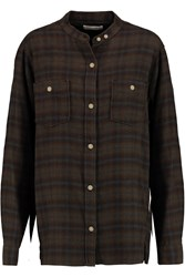 Etoile Isabel Marant Varese Plaid Cotton And Wool Blend Shirt Brown