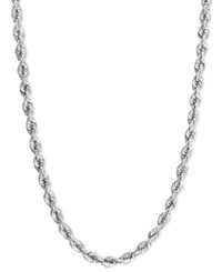 Macy's 14K White Gold Necklace 20' Hollow Rope Chain