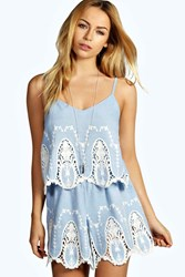 Boohoo Cameo Lace Chambray Playsuit Blue