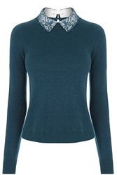Oasis Lace Collar Knit Turquoise