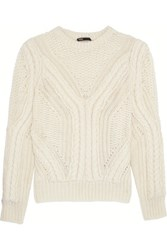 Maje Open Knit Wool Blend Sweater Ecru