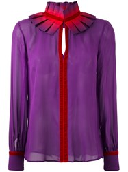 Capucci Ruffle Neck Shirt Pink And Purple