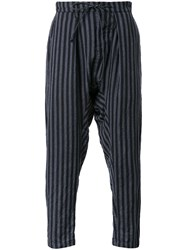 Kazuyuki Kumagai Striped Loose Fit Trousers Grey