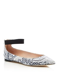 Furla Electra Ankle Strap Pointed Toe Flats White Toni Blue
