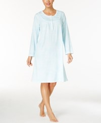 Miss Elaine Printed Knit Nightgown Blue Print