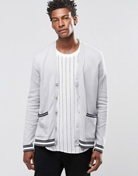 Asos Cardigan With Stripes On Sleeve Grey