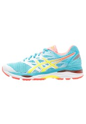 Asics Gelcumulus 18 Cushioned Running Shoes White Safety Yellow Blue Atoll Light Blue