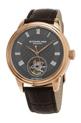 Stuhrling Men's Automatic Open Heart Alligator Embossed Leather Strap Watch Brown