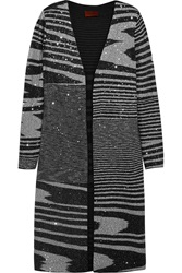 Missoni Sequin Embellished Knitted Cardigan Gray