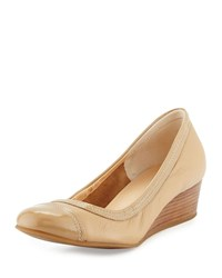 Cole Haan Elsie Cap Toe Wedge Pump Sandstone Brown Women's