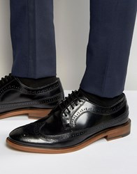Dune Brogues In Black Leather Black