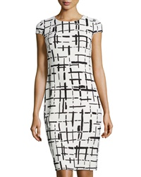 Muse Grid Print Cap Sleeve Dress White Black
