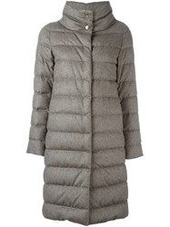 Herno Funnel Neck Padded Coat Grey