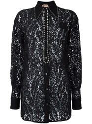 N 21 No21 Embroidered Floral Detail Shirt Black