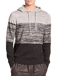 Vince Striped Cotton And Cashmere Blend Hoodie Heather Mist Black