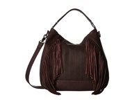 French Connection Rose Hobo Biker Berry Lamb Pu Cow Suede Hobo Handbags Brown