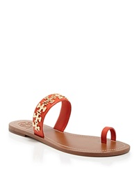 Tory Burch Logo Toe Ring Flat Sandals Val Poppy Red