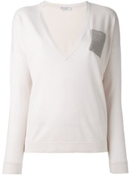 Brunello Cucinelli Bead Embellished Pocket Jumper Nude And Neutrals