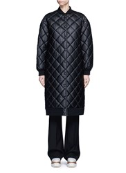 Stella Mccartney Quilted Faux Leather Coat Black