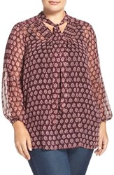 Lucky Brand Plus Size Women's Tie Neck Medallion Print Blouse Red Multi
